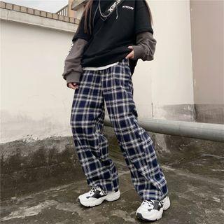 High-waist Plaid Straight-cut Pants