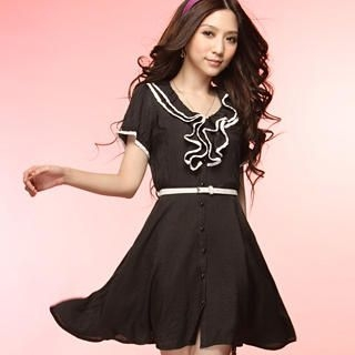 Buy Tokyo Fashion Ruffle Button-Front Belted Dress 1022968500