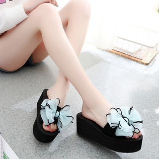 Image of Bow-Accent Platform Slide Sandals