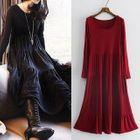 Plain Long-Sleeve Dress 1596