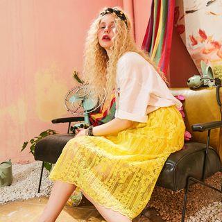 ELF SACK Lace Midi Skirt