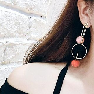 Two-Tone Pom Pom Drop Earring 1062768140