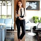 Pleated Cropped Suspender Pants 1596