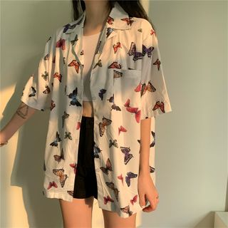 Image of Butterfly Print Short-Sleeve Shirt As Shown In Figure - One Size