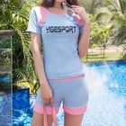 Set: Lettering Short-Sleeve Rashguard + Swim Shorts 1596