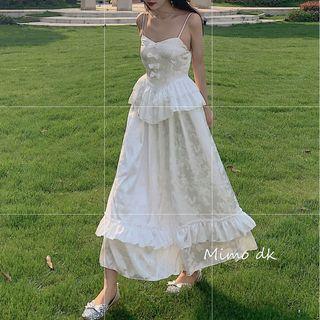 Image of Bow Accent Spaghetti Strap Midi A-Line Dress