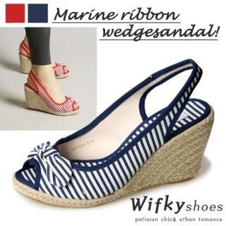 Buy Wifky Bow Accent Stripe Wedge Slingbacks 1023049409