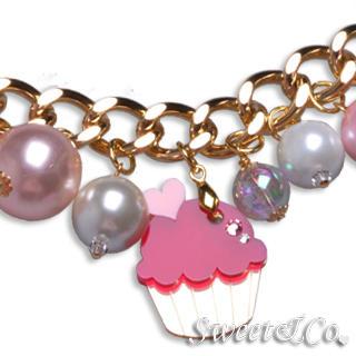 Mini Gold Fuchsia Cupcake Swarovski Crystal Charm Bracelet Gold - One Size 1024305050