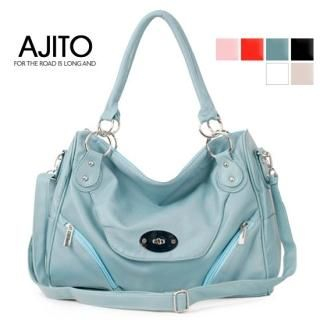Buy AJITO Faux-Leather Tote with Cross Strap 1022895034