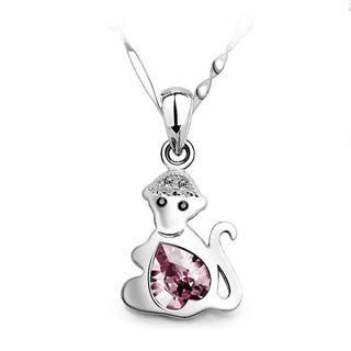 925 Sterling Silver Chinese Zodiac Monkey Pendant with Pink Swarovski Element Crystal and 40cm Necklace