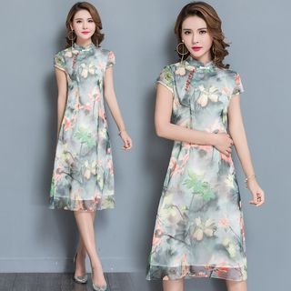 Floral Print Short Sleeve Mandarin Collar A-Line Dress 1060533115