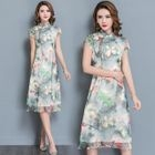 Floral Print Short Sleeve Mandarin Collar A-Line Dress 1596