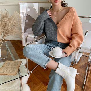 V-neck Color-block Sweater