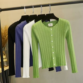 Image of Button Detail Ribbed Plain Knit Top