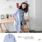 Elbow-Sleeve Striped Long Shirt White - M 1596