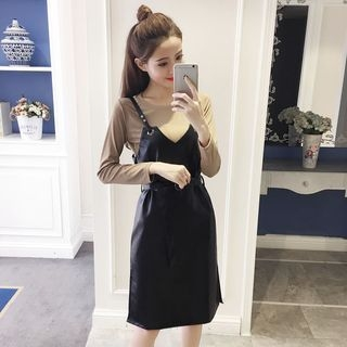 Set: Plain Long-Sleeve T-Shirt + Faux-Leather Midi Pinafore Dress 1062795686
