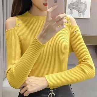 Long-Sleeve Cutout Shoulder Rib Knit Top 1062590591