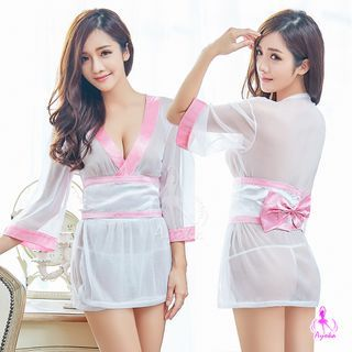 Costume | String | Sheer | White | Pink | Belt | Size | One | Top