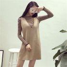 Set: Striped Long-Sleeve Knit Top + V-Neck Pinafore Dress 1596