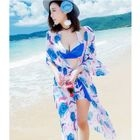 Set: Printed Bikini Top + Swim Shorts + Cover-Up 1596