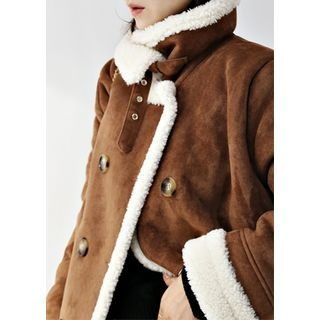Image of Double-Breasted Long Faux-Shearling Coat