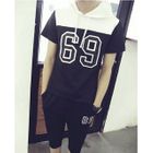 Set: Short-Sleeve Hooded T-Shirt + Cropped Sweatpants 1596