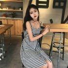 Check Sleeveless A-Line Dress 1596