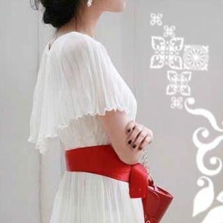 Buy SHY SHY Set: Cape-Collar Pleated Chiffon Dress + Belt 1021613904