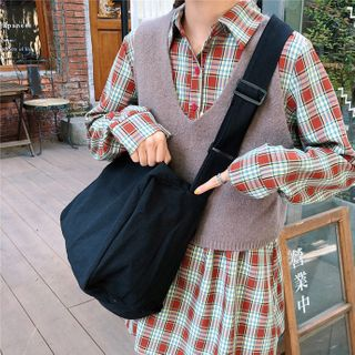 Image of Canvas Crossbody Tote Bag