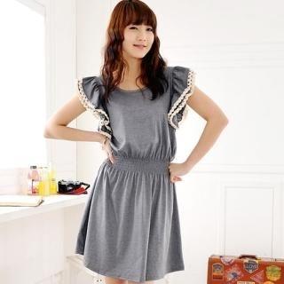 Buy Miss Hong Flutter Sleeve Smocked Waist Dress 1022526841