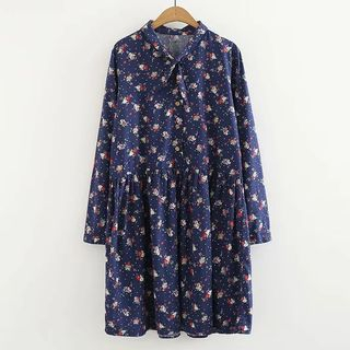 Long-sleeve | Babydoll | Floral | Dress | Print | Navy | Blue | Size | One