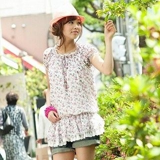 Picture of ageha@shibuya Floral Dropwaist Tunic Light Pink - One Size 1022589680 (ageha@shibuya Apparel, Womens Blouses, Japan Apparel, Japan Blouses)