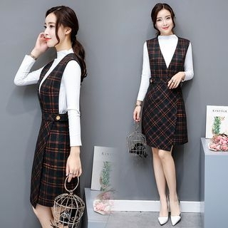 Set: Ribbed Top + Plaid Jumper Dress 1061494072