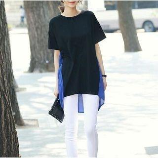 Short-Sleeve Color-Block Top 1046519162