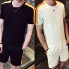 Set: Short-Sleeve Contrast-Trim Top + Shorts 1596