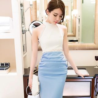 Sleeveless Color-Block Shirred Dress