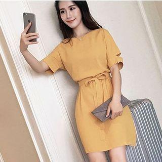 Short-Sleeve Tie Waist Chiffon Dress 1059881869