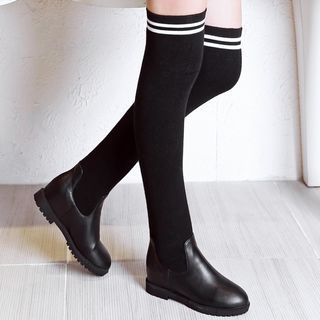 Striped Faux Leather Boots 1053299062