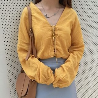 v-neck-long-sleeve-blouse