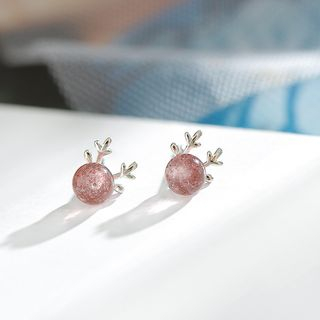 Sterling   Earring   Silver   Light   Bean   Bead   Size   Red   One