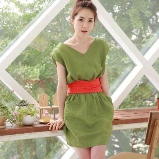 Buy IZABEL V-Neck Linen Dress with Sash 1022944925