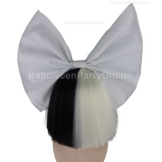 Party Wig - Sia Black & White Shy Wig White Bow Black / White - One Size 1053837124
