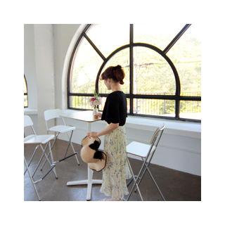 Band-Waist Pleated Floral Long Skirt 1059755004