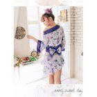 Set: Floral Lingerie Kimono + Thongs 1596