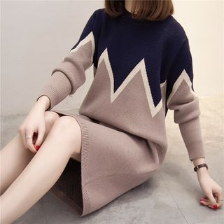 Color Block Long Sleeve Sweater Dress 1061395534