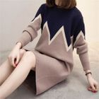 Color Block Long Sleeve Sweater Dress 1596