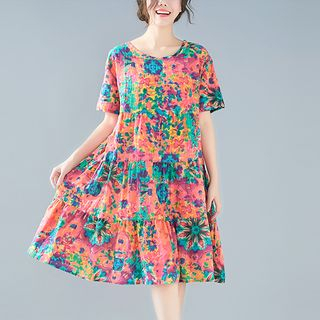 Short-sleeve | Babydoll | Floral | Dress | Print | Size | Red | One