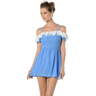 Ruffled Drop-Sleeve Chiffon Dress 1596