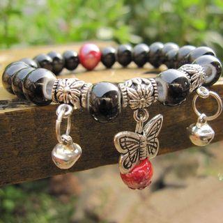 Image of Ceramic Bead Alloy Butterfly Bracelet Black - One Size