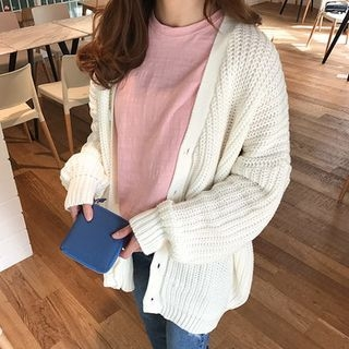 V-Neck Ribbed Cardigan 1057850675